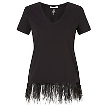 Buy Oui Feather Hem T-Shirt, Black Online at johnlewis.com