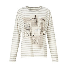 Buy Oui Printed Stripe T-Shirt, White/Black Online at johnlewis.com