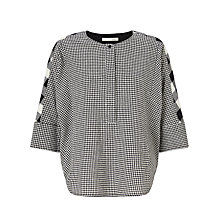 Buy Oui Check Blouse, Off White/Grey Online at johnlewis.com
