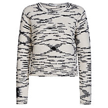 Buy Oui Abstract Detail Jumper, White/Black Online at johnlewis.com