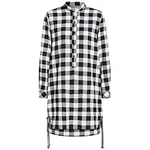 Buy Oui Longline Check Shirt Dress, Off White/Grey Online at johnlewis.com