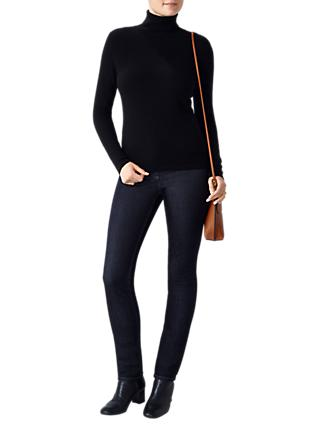 Pure Collection Gabriella Roll Neck Jumper, Black