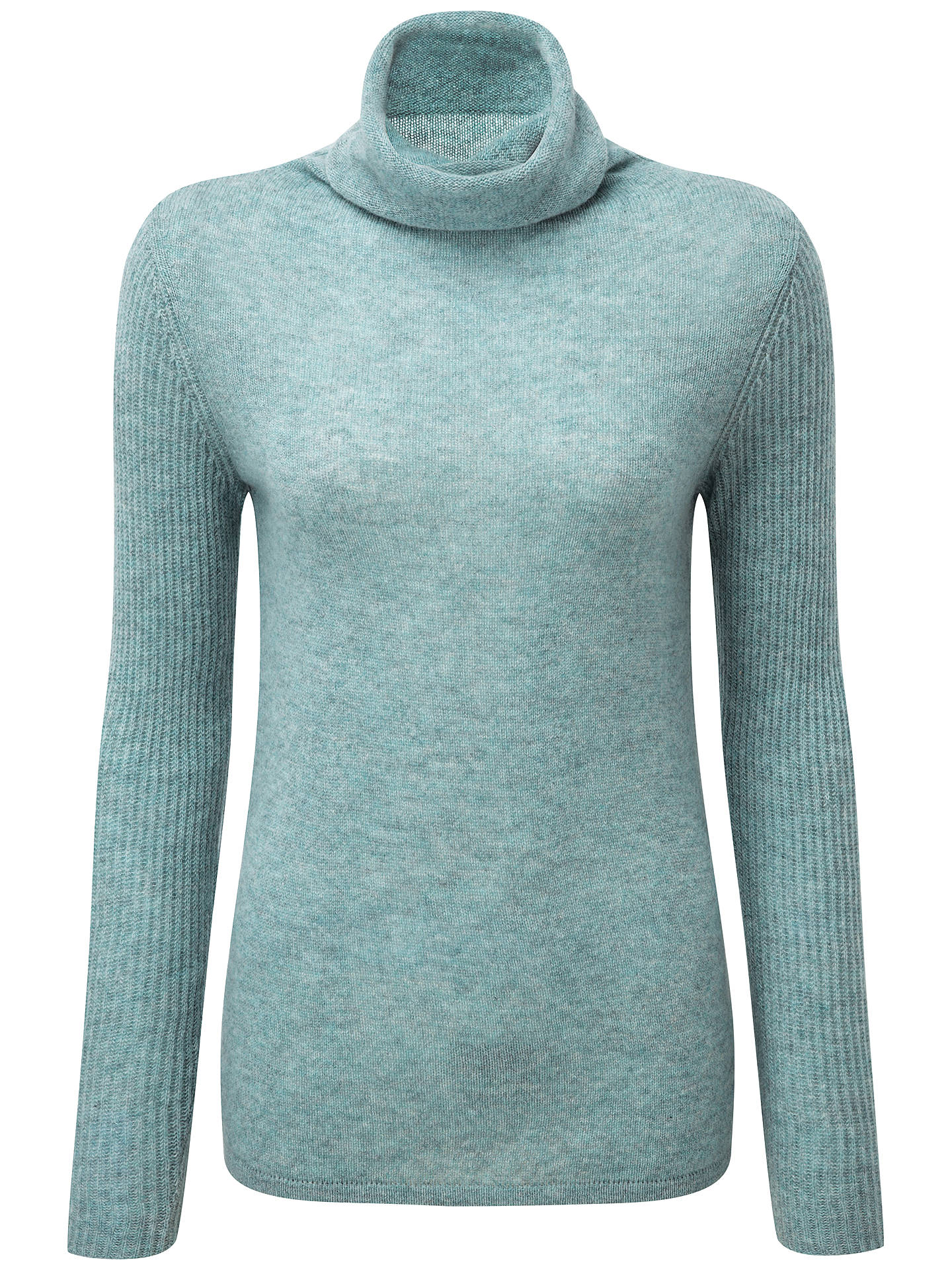 Pure Collection Lola Cashmere Polo Neck Jumper, Blue Frost