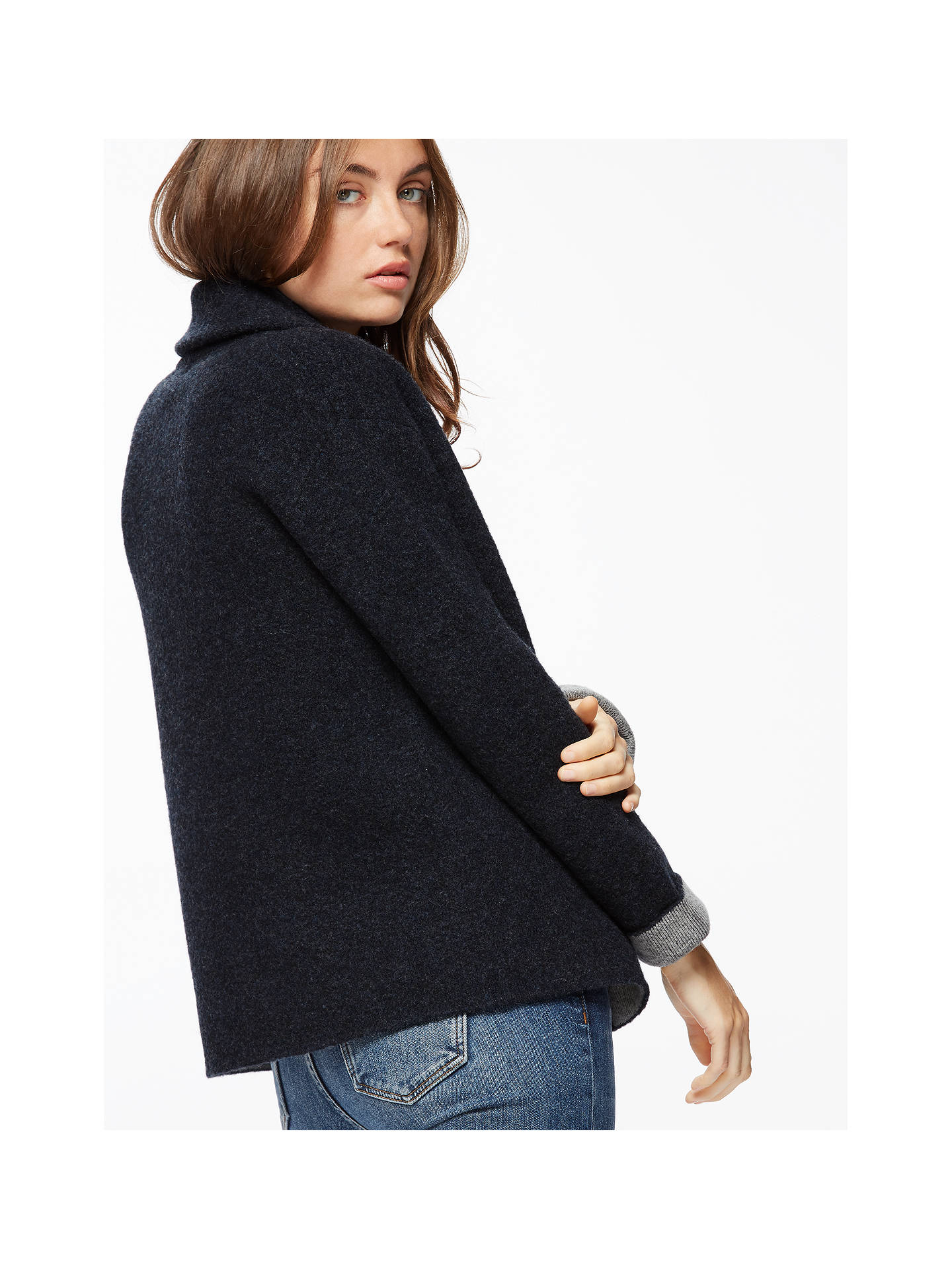 b24de2c29 Jigsaw Boucle Cardigan, Navy at John Lewis & Partners