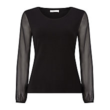 Buy Precis Petite Maddie Jersey Chiffon Blouse, Black Online at johnlewis.com