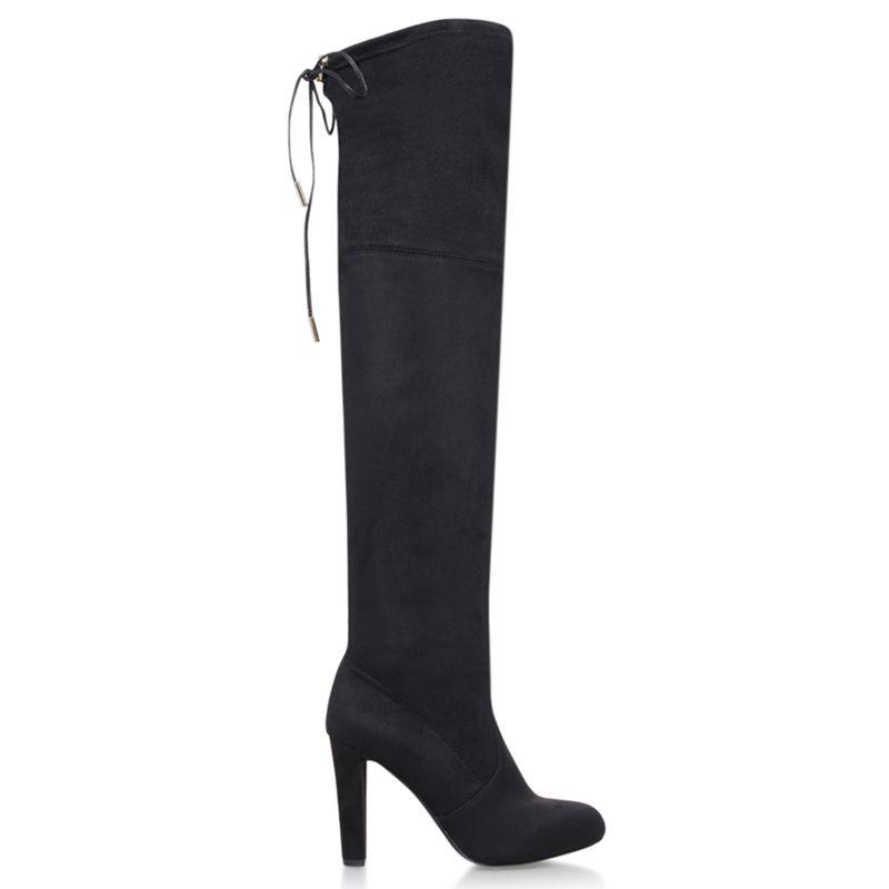 Carvela Carvela Sammy Lacing Detail Over The Knee Boots, Black Suedette