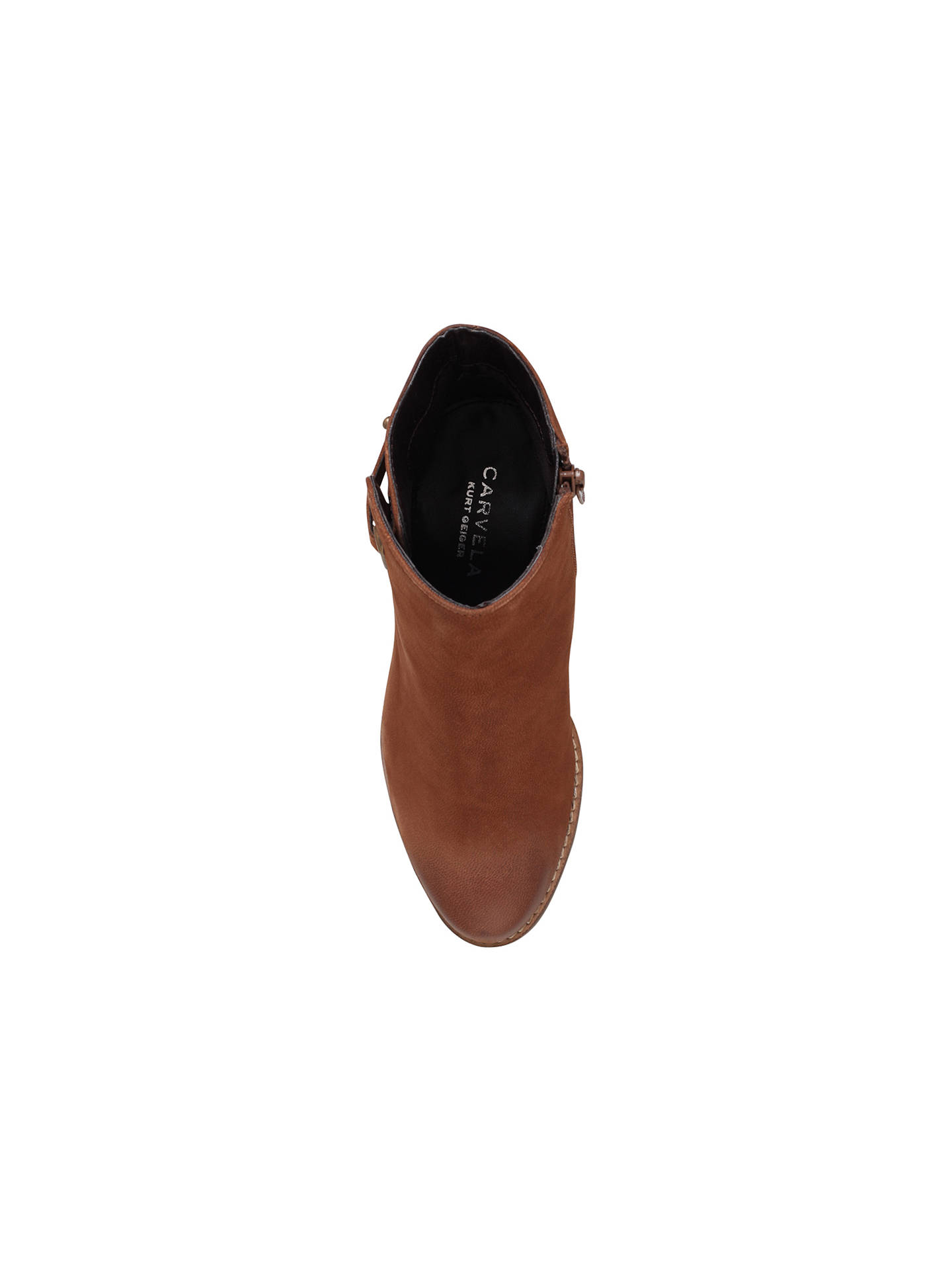 Buy Carvela Smart Block Heeled Ankle Boots, Tan Leather, 3 Online at johnlewis.com