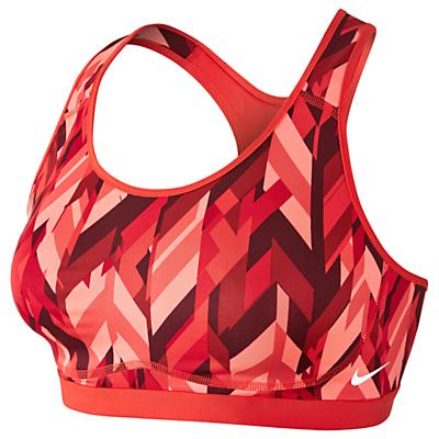 Nike Pro Fierce Geo Prism Sports Bra, Max Orange/University Red