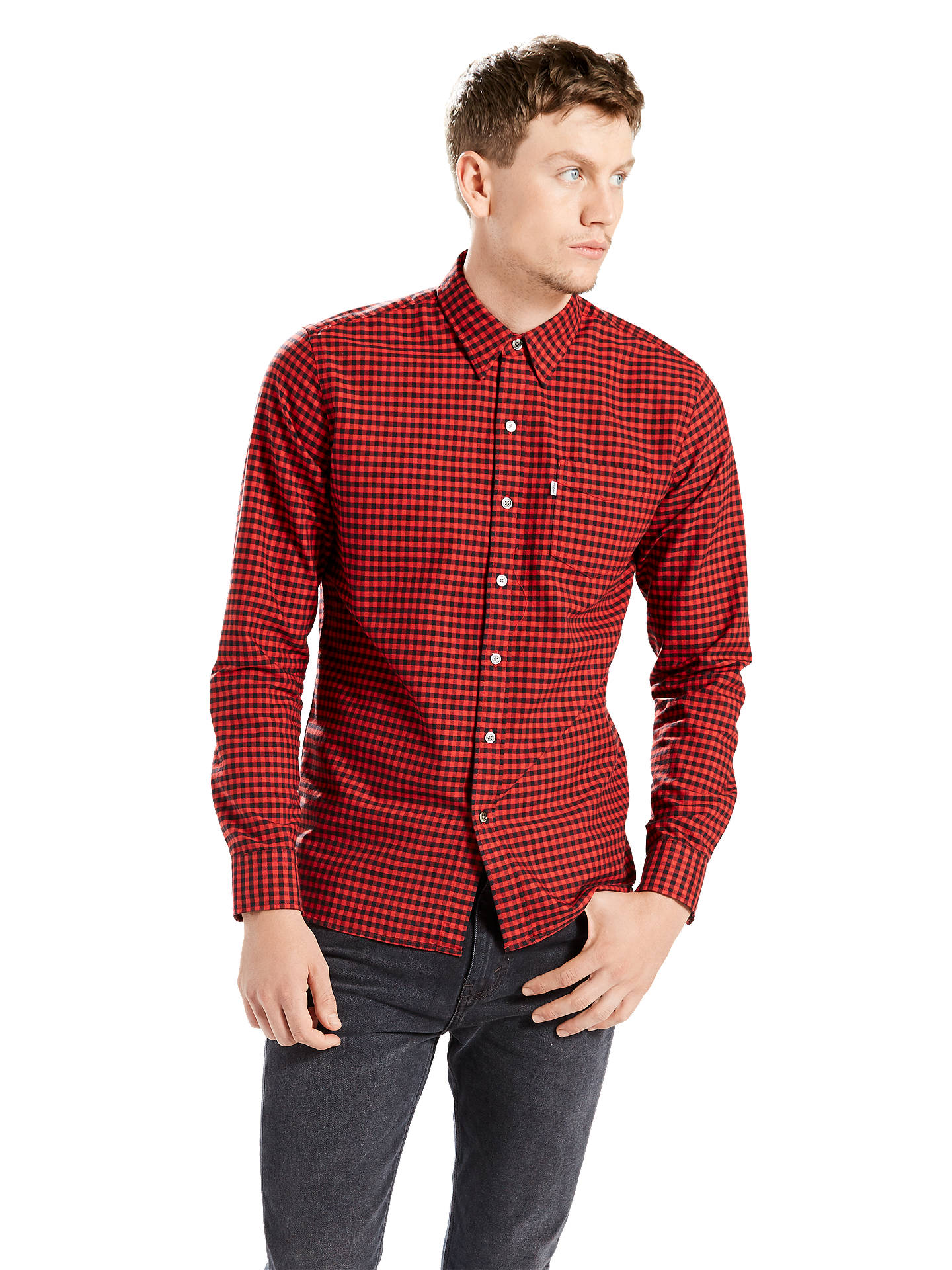 BuyLevi's Sunset One Pocket Shirt, Cherry, S Online at johnlewis. ...