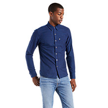 Buy Levi's Sunset 1 Pocket Gingham Long Sleeve Shirt, Indigo Online at johnlewis.com