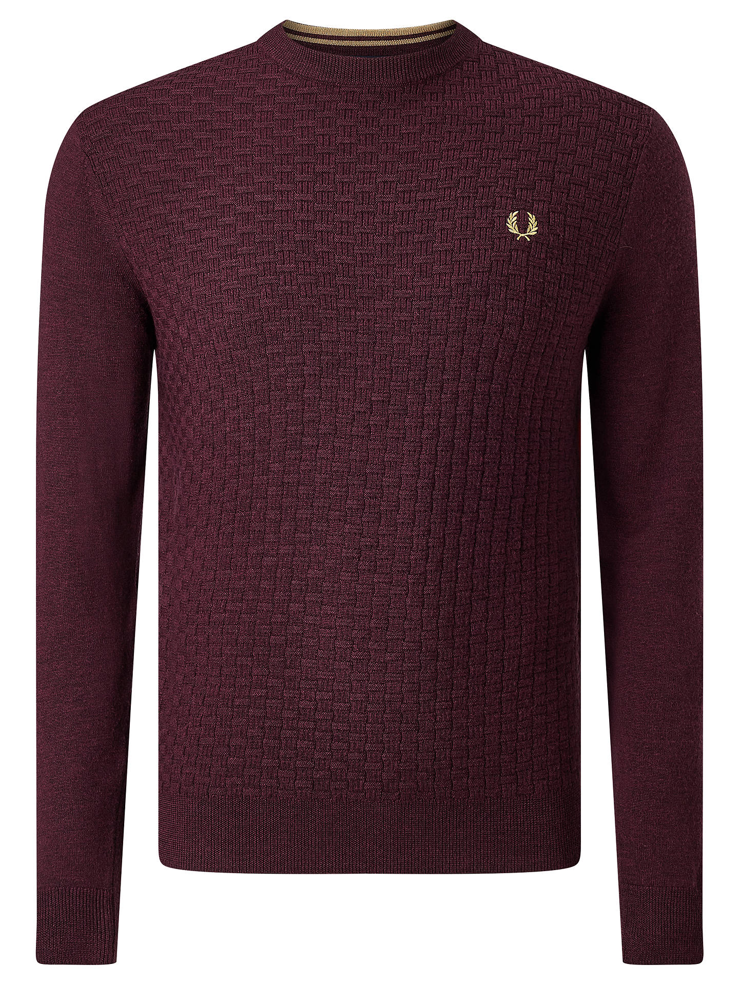 eb05808192e763 Buy Fred Perry Oxford Texture Merino Wool Crew Neck Jumper, Port Marl, M  Online