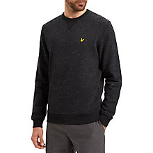 Buy Lyle & Scott Flecked Crew Neck Sweatshirt, True Black Online at johnlewis.com