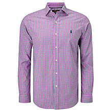 Buy Polo Golf by Ralph Lauren Non Iron Cotton Check Sport Shirt, Fuchsia Online at johnlewis.com