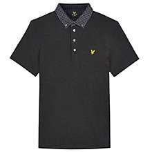 Buy Lyle & Scott Woven Collar Polo Shirt, Charcoal Online at johnlewis.com