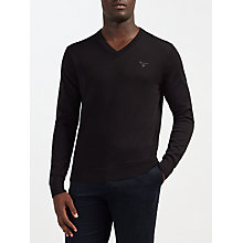 Buy GANT Lightweight Cotton V-Neck Jumper, Black Online at johnlewis.com