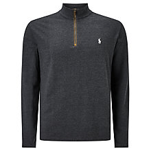 Buy Polo Golf by Ralph Lauren Slim Fit Half-Zip Knitted Jumper, Onyx Heather Online at johnlewis.com