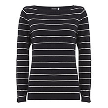 Buy Mint Velvet Stripe Split Sleeve Knit, Navy Online at johnlewis.com