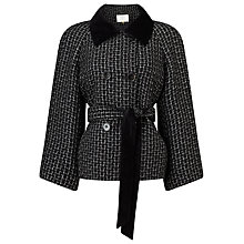 Buy Jacques Vert Textured Velvet Collar Jacket, Black/Multi Online at johnlewis.com