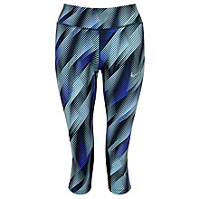 Buy Nike Power Epic Graphic Print Running Capri Tights, Blue Online at johnlewis.com