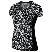 Buy Nike Dry Miler Gravity Print Running Top, Black/Silver Online at johnlewis.com