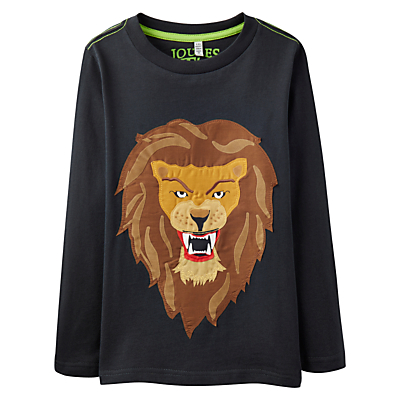 Little Joule Boys' Junior Jack Lion Jersey Top, Coal