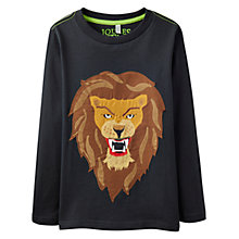 Buy Little Joule Boys' Junior Jack Lion Jersey Top, Coal Online at johnlewis.com