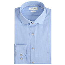 Buy Calvin Klein Rome Micro Gingham Fitted Shirt, Blue/White Online at johnlewis.com