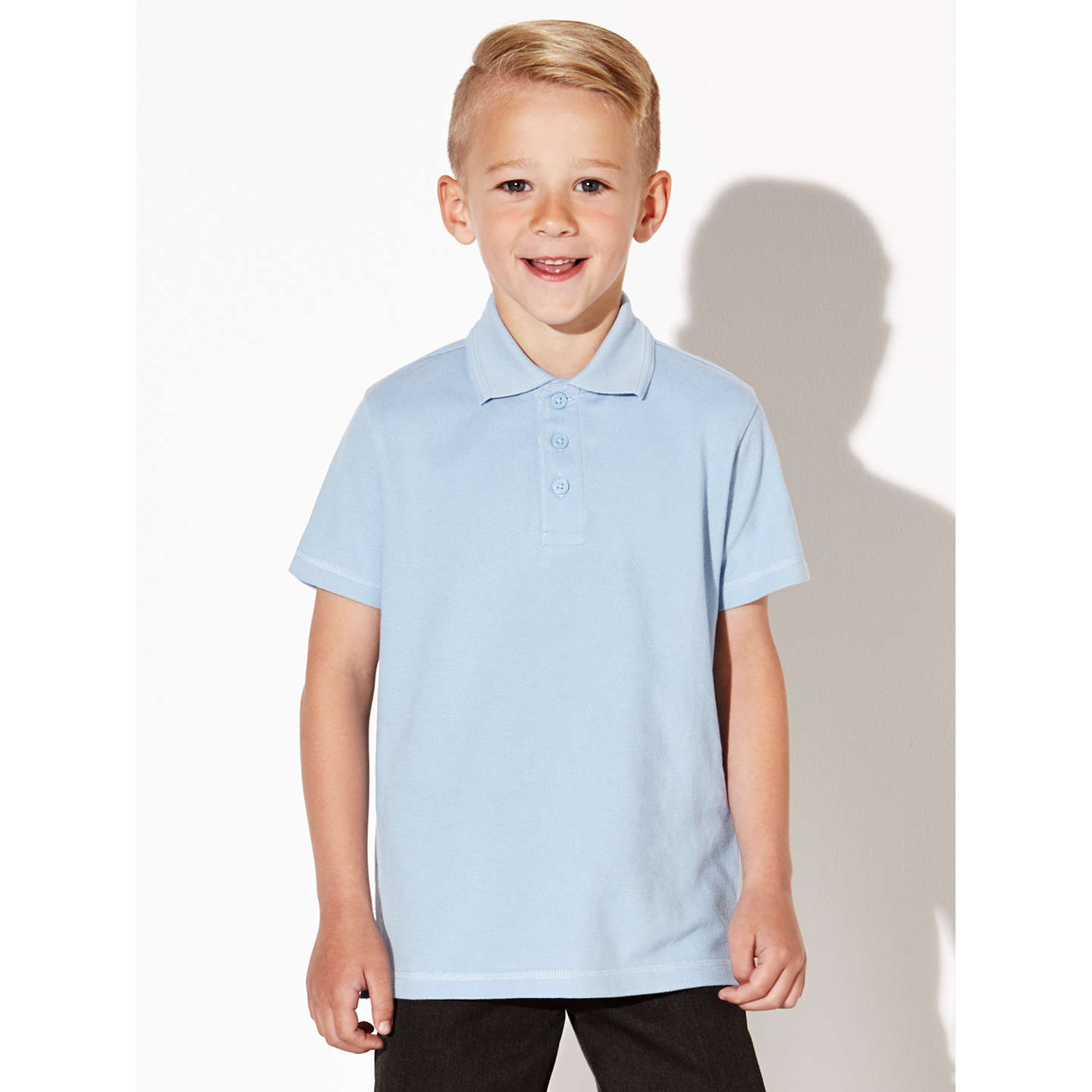 BuyJohn Lewis Unisex Pure Cotton Easy Care School Polo Shirt, Pack of 2, Blue, 3 years Online at johnlewis.com