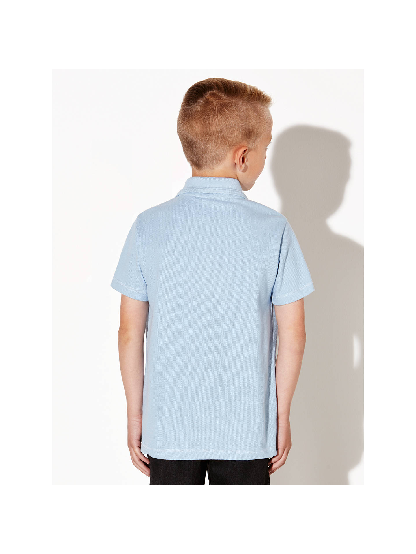 BuyJohn Lewis & Partners Unisex Pure Cotton Easy Care School Polo Shirt, Pack of 2, Blue, 3 years Online at johnlewis.com
