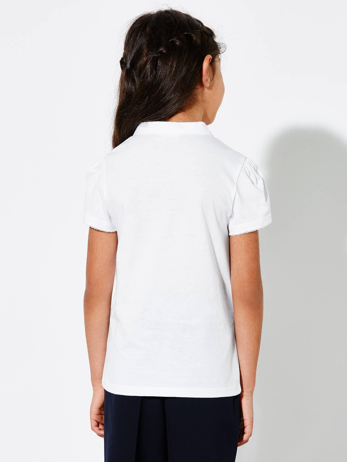 6bc55ea4 ... Buy John Lewis & Partners Girls' Cotton Picot Trim Collar School Polo  Shirt, White ...