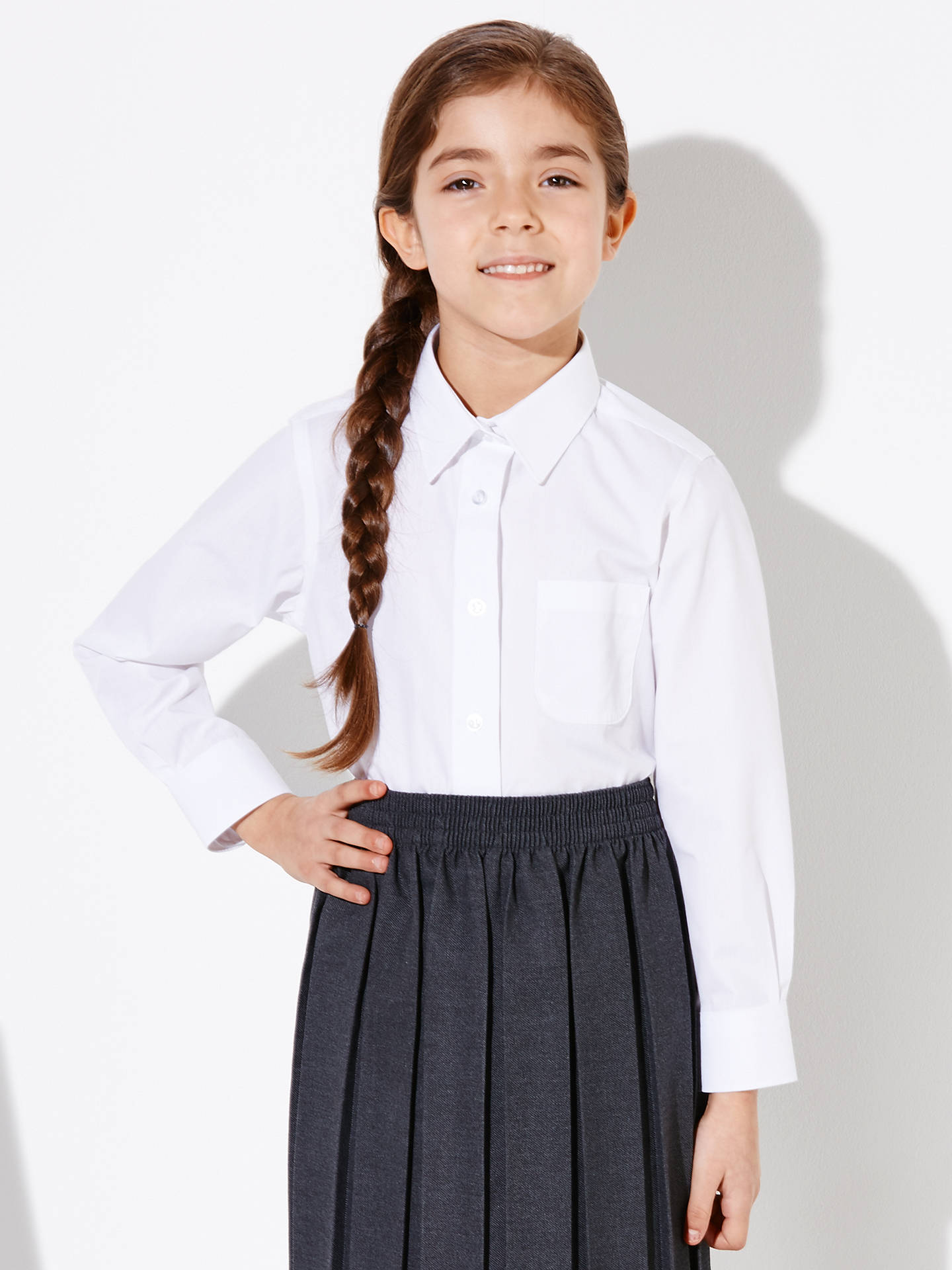 BuyJohn Lewis & Partners Girls' Easy Care Button Neck Long Sleeve School Blouse, Pack of 2, White, 3 years Online at johnlewis.com