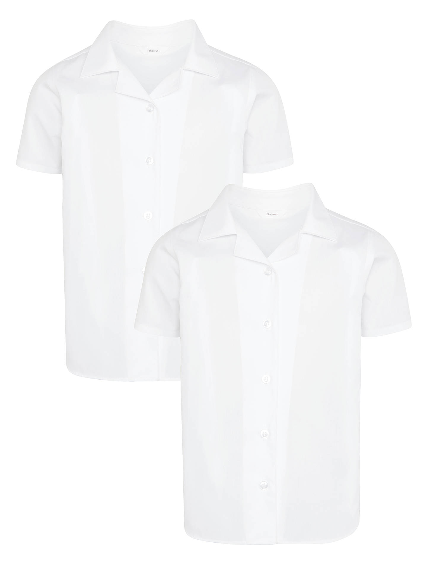 BuyJohn Lewis & Partners Girls' Easy Care Open Neck Short Sleeve School Blouse, Pack of 2, White, 4 years Online at johnlewis.com