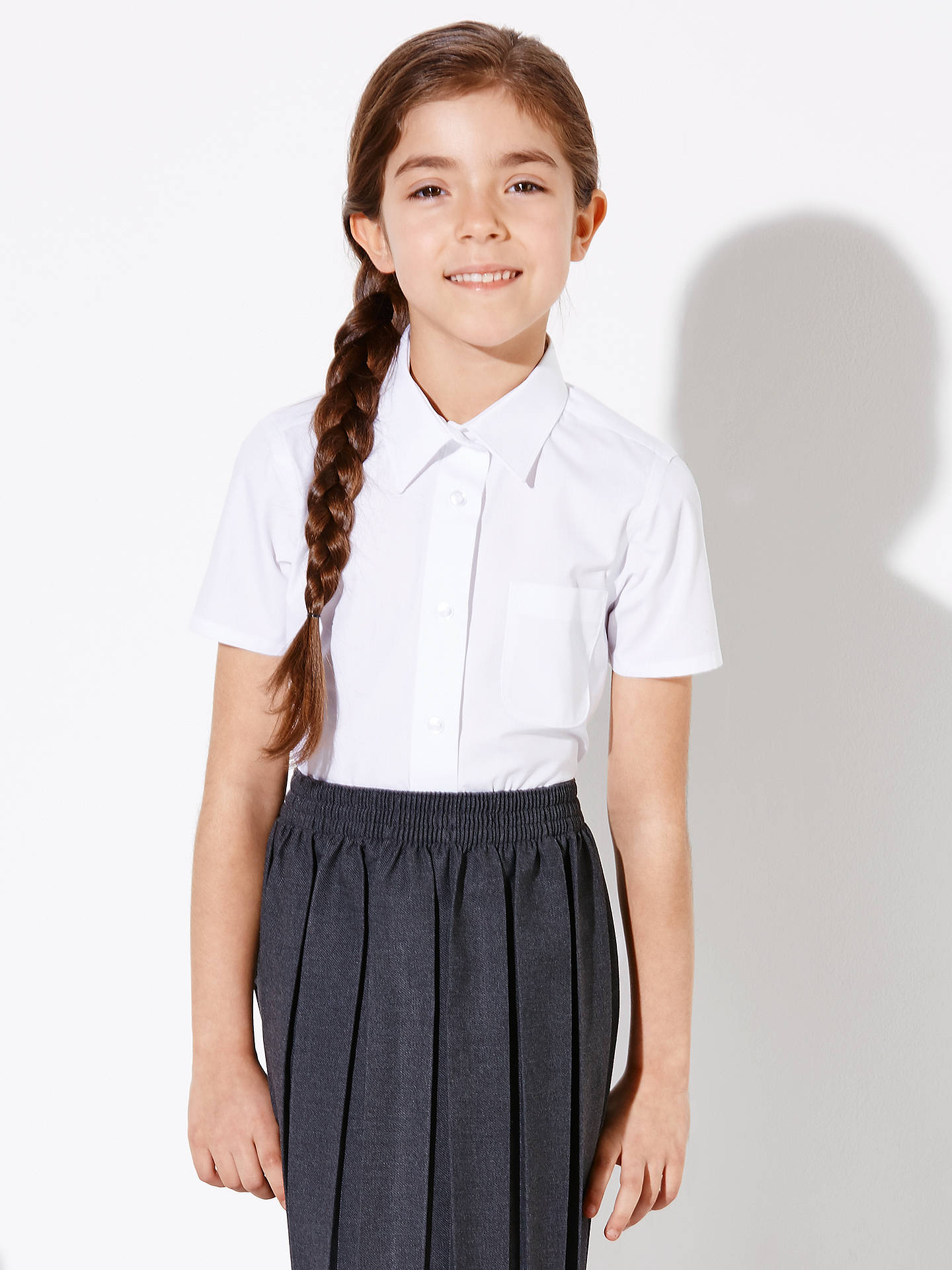 BuyJohn Lewis & Partners Girls' Easy Care Button Neck Short Sleeve School Blouse, Pack of 2, White, 4 years Online at johnlewis.com