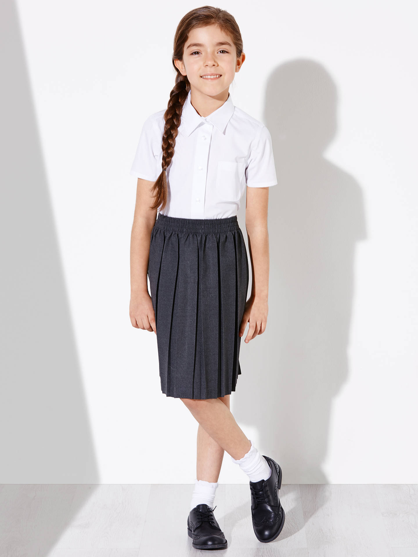 Buy John Lewis & Partners Girls' Easy Care Button Neck Short Sleeve School Blouse, Pack of 2, White, 4 years Online at johnlewis.com
