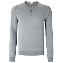 Buy John Smedley Wembury Sea Island Cotton Henley Jumper, Silver Online at johnlewis.com
