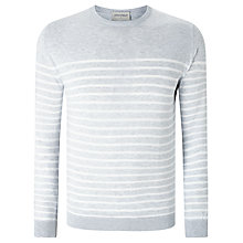 Buy John Smedley Redfree Sea Island Cotton Striped Crew Neck Jumper, Feather Grey Online at johnlewis.com