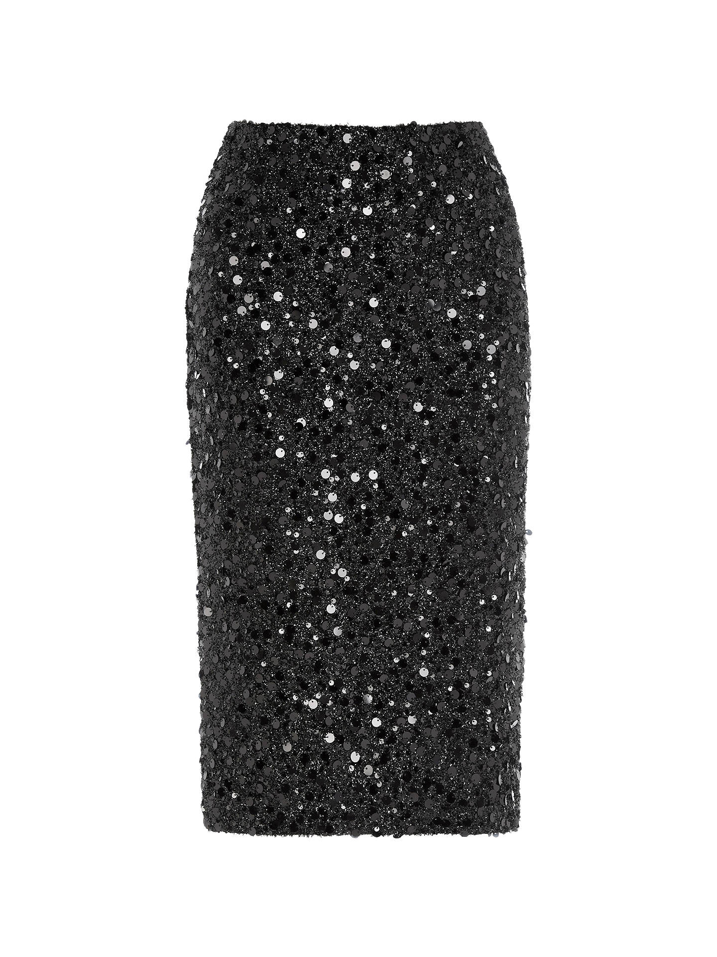 470eac7bb0bf Buy Warehouse Sequin Pencil Skirt, Black, 6 Online at johnlewis.com ...