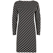Buy Jaeger Diagonal Breton Dress, Black/White Online at johnlewis.com