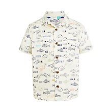 Buy John Lewis Boys' Friendly Fish Short Sleeve Shirt, Cream Online at johnlewis.com