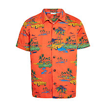 Buy John Lewis Boys' Cuba Car Print Shirt, Orange Online at johnlewis.com
