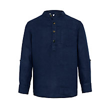 Buy John Lewis Boys' Grandad Shirt, Navy Online at johnlewis.com