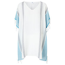 Buy John Lewis Cotton Square Kaftan, One Size, Turquoise/White Online at johnlewis.com