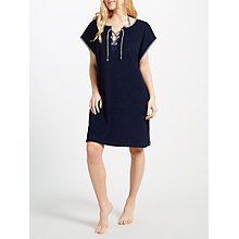 Buy John Lewis Towelling Lace Up Kaftan, Navy Online at johnlewis.com