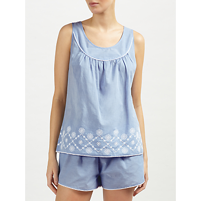 John Lewis June Embroidered Camisole And Short Set, Blue/White