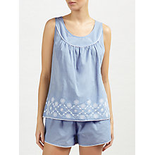 Buy John Lewis June Embroidered Camisole And Short Set, Blue/White Online at johnlewis.com
