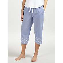 Buy John Lewis June Embroidered Cropped Pyjama Bottoms, Blue/White Online at johnlewis.com