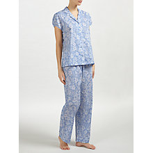Buy John Lewis Beth Floral Print Short Sleeve Pyjama Set, Blue/White Online at johnlewis.com