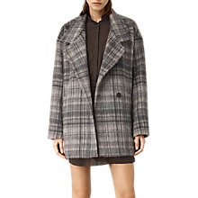 Buy AllSaints Check Meade Coat, Oat Online at johnlewis.com