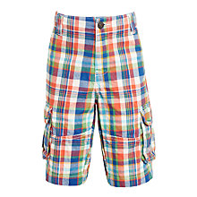 Buy John Lewis Boys' Check Shorts, Orange/Blue Online at johnlewis.com