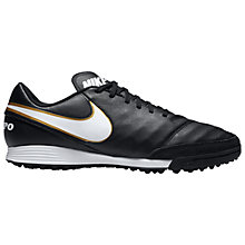 Buy Nike Tiempo X Genio Leather II Men's TF Football Boots, Black/White Online at johnlewis.com